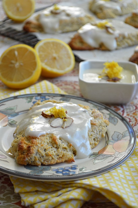 Light and buttery gluten free lemon scones speckled with poppyseeds ...