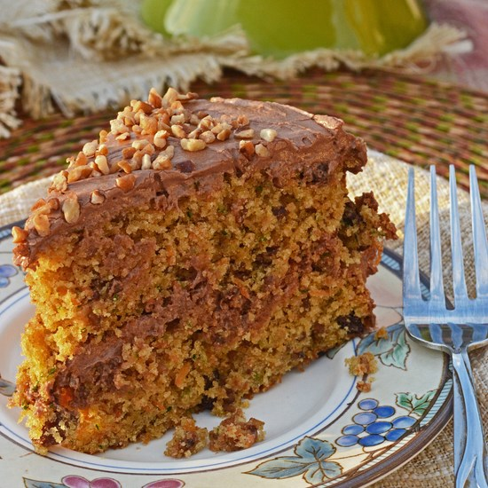 Chocolate Zucchini Cake With Sour Cream Frosting Recipe — Dishmaps