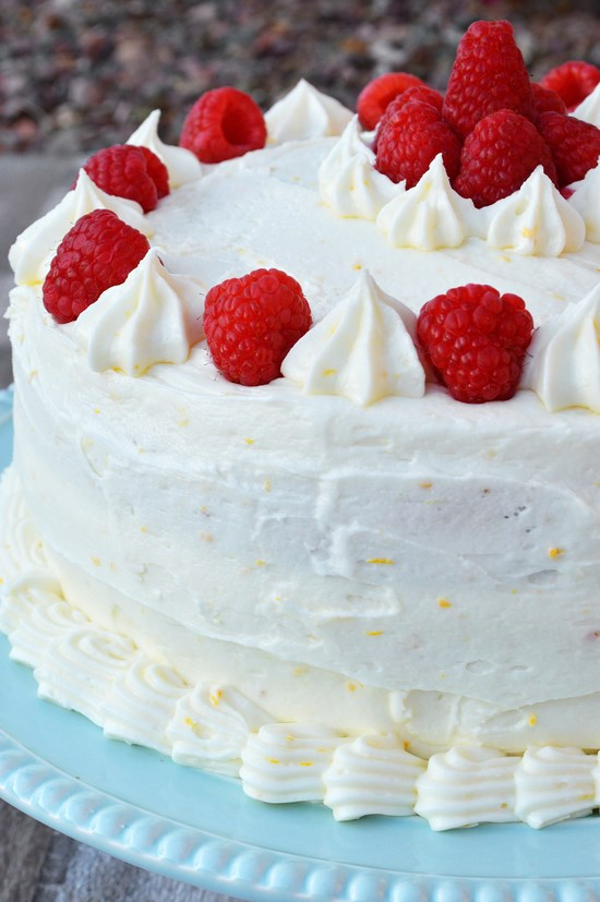 gluten free yellow cake with raspberry filling