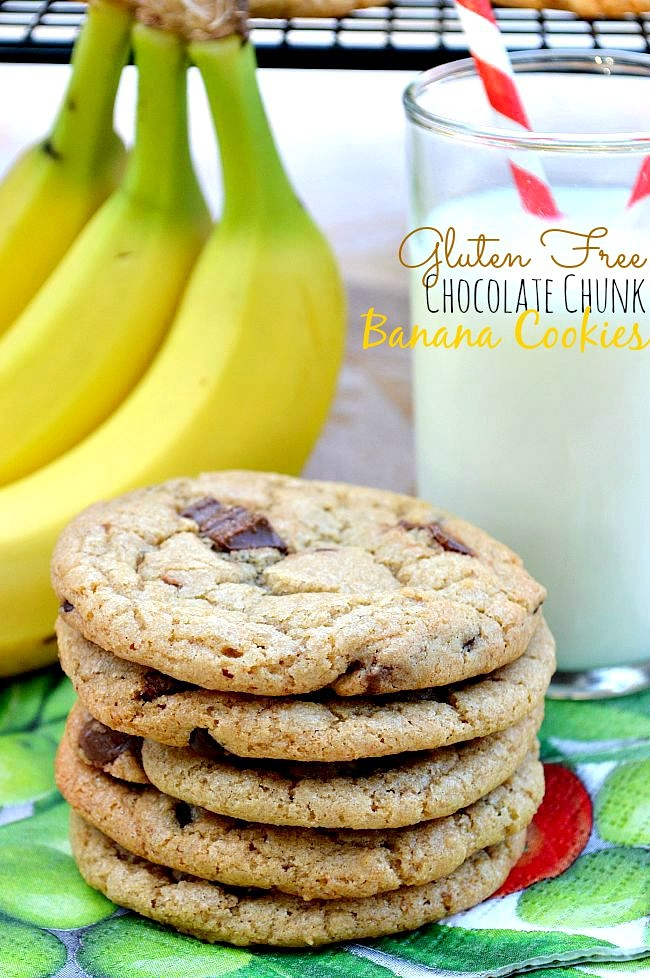 Soft and chewy Gluten Free Chocolate Chunk Banana Cookies have just ...
