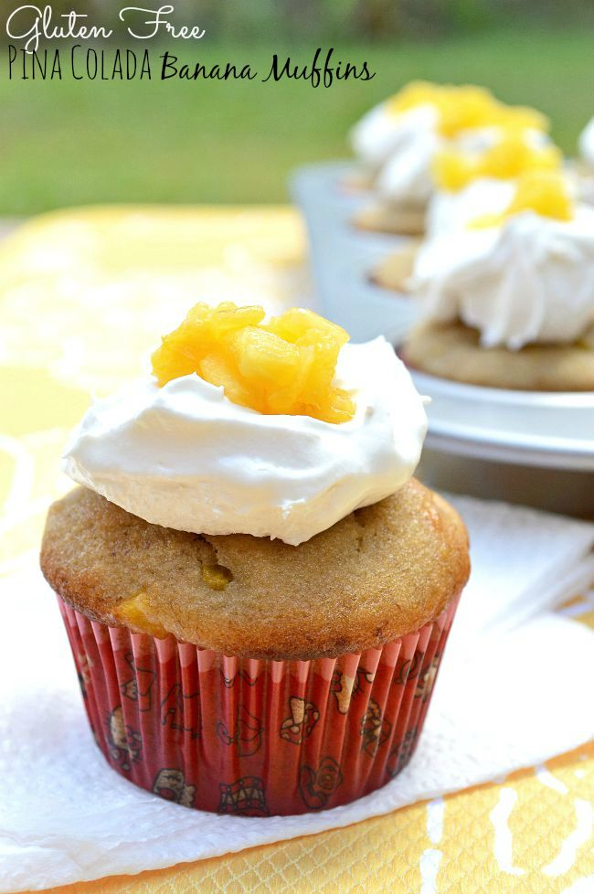 These Gluten Free Pina Colada Banana Muffins with Cool Whip topping ...